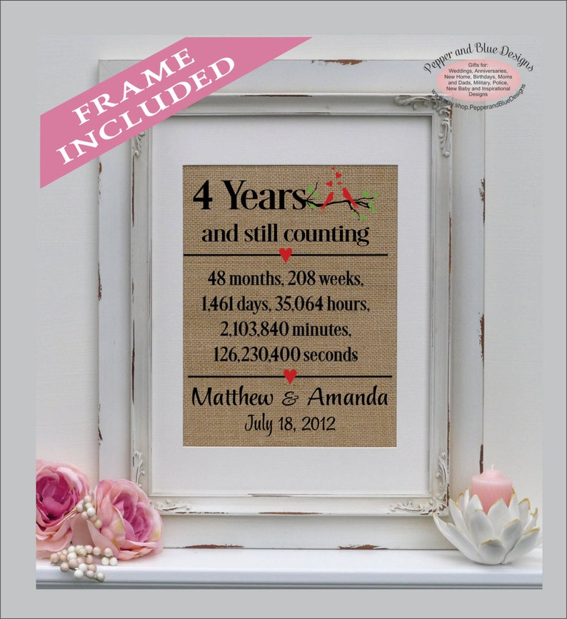 4th Anniversary Linen Print 4 Year Linen Traditional Gift Etsy