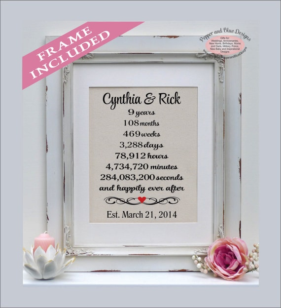 Ninth Wedding Anniversary Gift 9 Year Anniversary Etsy