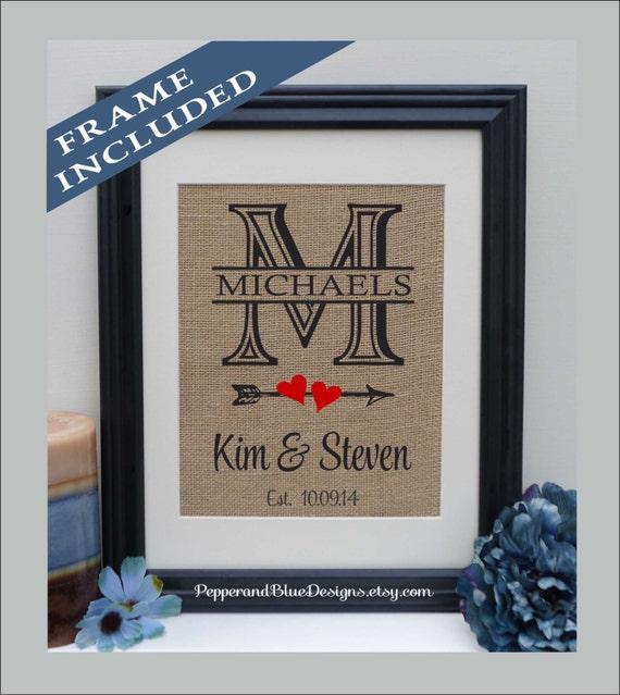 Framed Burlap Monogram Monogrammed Gifts Personalized Wedding Etsy