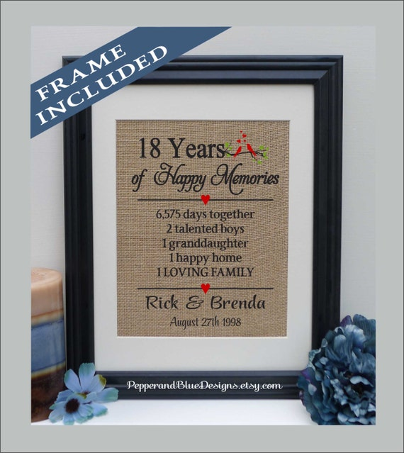 18th Wedding Anniversary Gifts 18 Years Married 18 Years Etsy