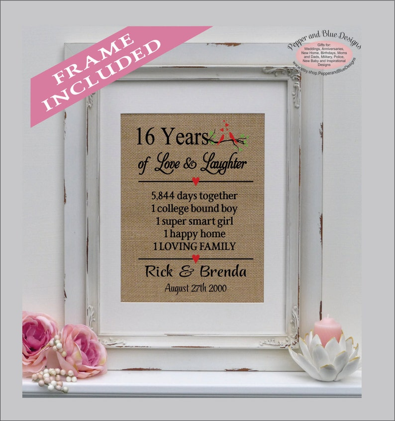 16th Wedding Anniversary.16th Wedding Anniversary Gifts 16 Years Married 16 Years Together Gift For Anniversary 16th Anniversary Gift Anniversary Ann402 16