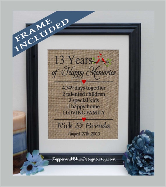 13th Wedding Anniversary Gift 13 Years Married 13 Years Etsy