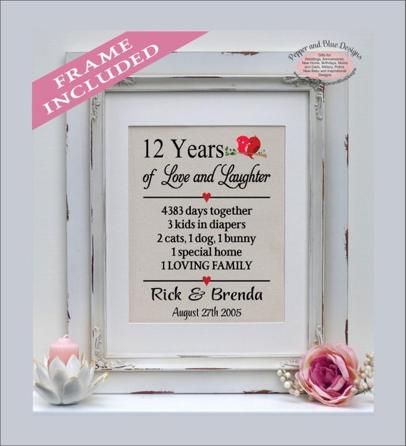 12th Anniversary Gift 12 Years Married 12 Year Anniversary Etsy
