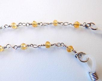 Hals f/ür Sonnenbrille oder Lesen Edelstahl-Brillenkette hellgrauer Kristallst/änder f/ür Brillen