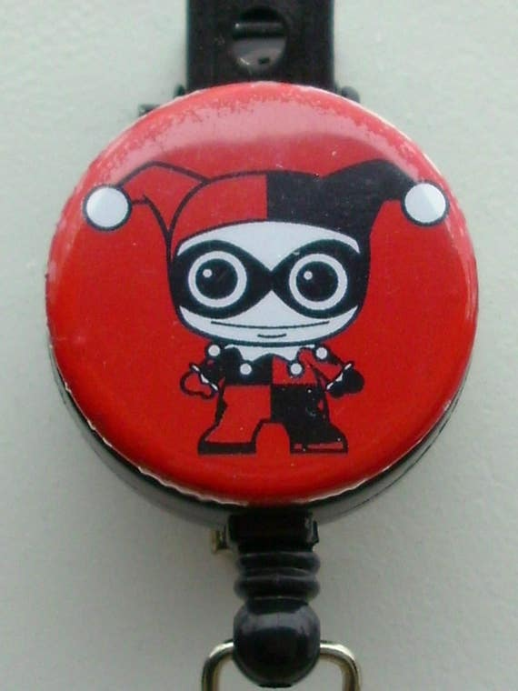 Harley Quinn Cute Chibi Character Lanyard Retractable Reel Badge ID Card Holder