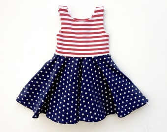 99d3272cc73 4th of July dress - American Flag Outfit - Toddler Stripe Twirl Dress - Red  White and Blue Girls Dress - Baby Twirly Dress - Summer Dress
