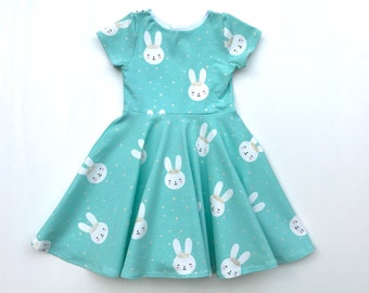 b6f9280c2 Bunny Twirl Dress - Mint Girls Dress - Gold Glitters - Toddler Bunny Dress  - Rabbit Dress - Baby Girl Easter Outfit