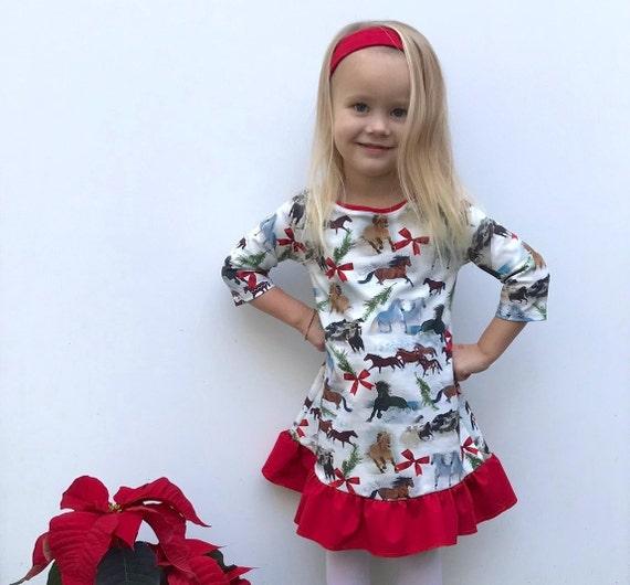 Toddler Christmas Dresses.Toddler Christmas Dress Baby Girls Dress Horses Dress Winter Dress