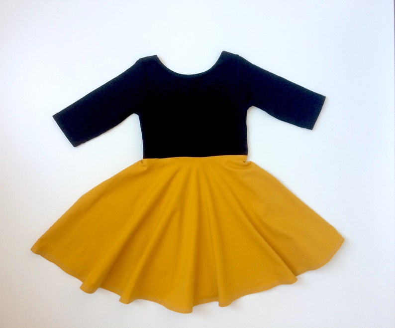 5aec0a87923 Toddler twirl dress. Black and mustard yellow Girls dress.