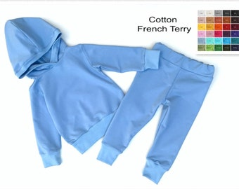 Sweatsuit set Baby, Toddler loungewear, Blue Hoodie, Joggers, Solid Sweat pants kids, Boys hoodie, Kids Lounge set