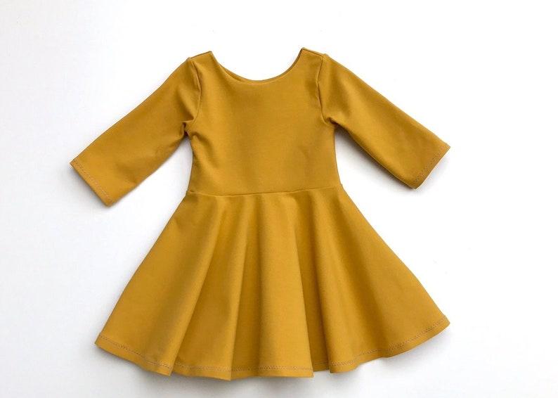 1e3e0a4f8e4 Mustard twirl dress plain girls dress fall baby girl twirl