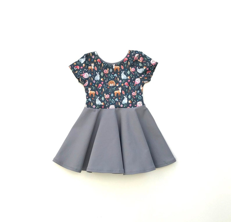 Girls Zoo Dress Birthday Bunny  Deer  Hedgehog Baby Dress Toddler Girl Twirl Dress Woodland Dress Forest Fall Twirl Dress