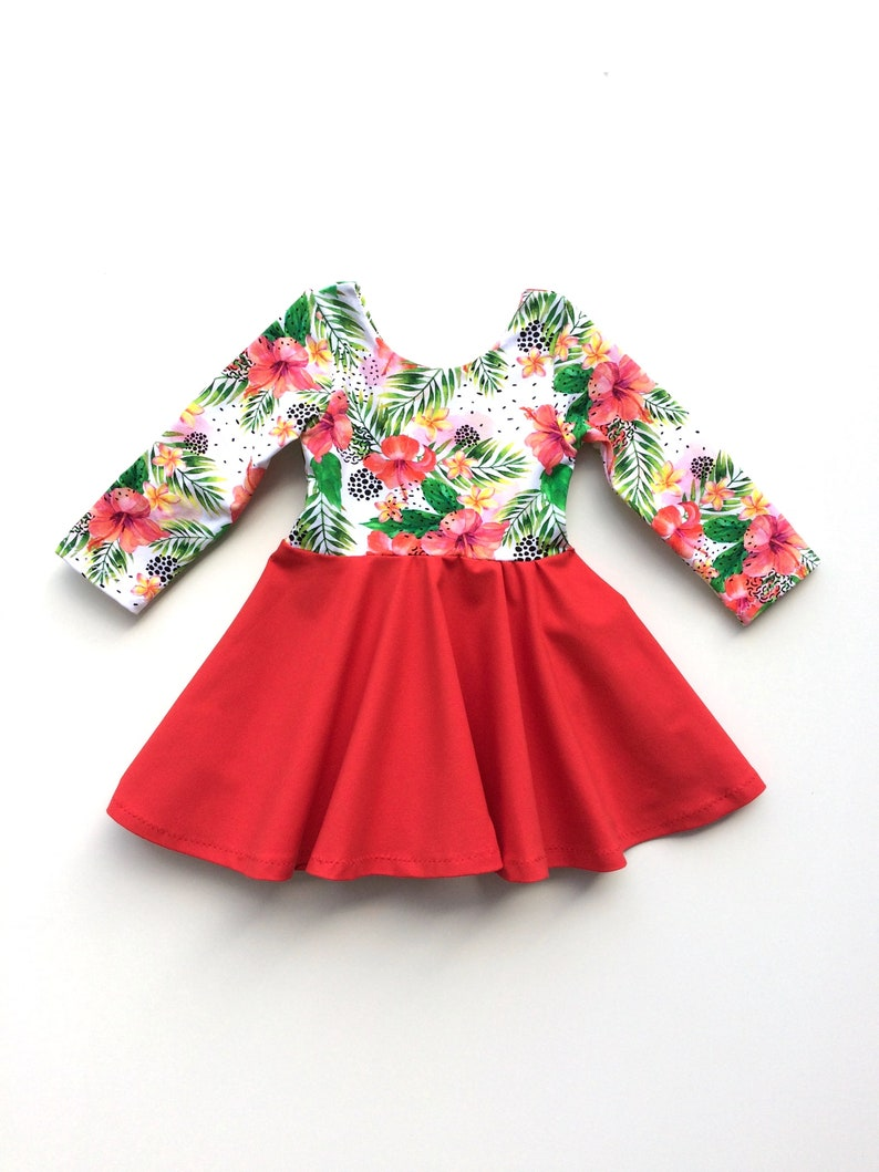 68638711a67e Floral Twirl Dress Red Baby dress Twirl dress Toddler | Etsy