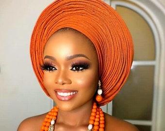 African Gele, Pre styled Head Tie,  Auto Gele, Pre-Wrapped Gele, Ceremonial Head Cover, Head Dress, Gift For Her, Bridal Head Dress, Gele