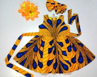Ankara Baby Girls Dress With Head Wrap, Stocking Stuffer, Girls dresses, Ankara dresses, African Print Dress, Toddler dresses,