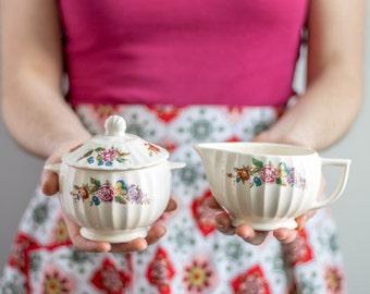 Vintage Floral Sugar Bowl & Creamer Set, Pink Purple Red Flowers, Wildflower Tea Set, Colorful Tea Party