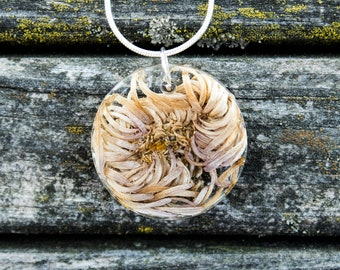 Dried Flower In Resin Pendant