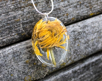 Yellow Flower in Resin Pendant