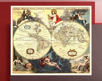 World map 1800 | Etsy