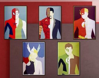 Super Hero Poster | Superhero Wall Art | Marvel Poster Decor | Posters For Kids & Superhero wall art | Etsy