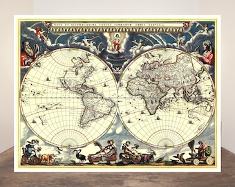 World map vintage etsy uk blaeus map of the world 1684 world map posters vintage map art historical reprint gumiabroncs Images