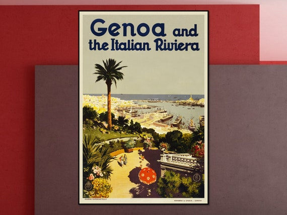 Genoa Santa Margherita Ligure Italy Vintage Travel Advertisement Poster Print 2