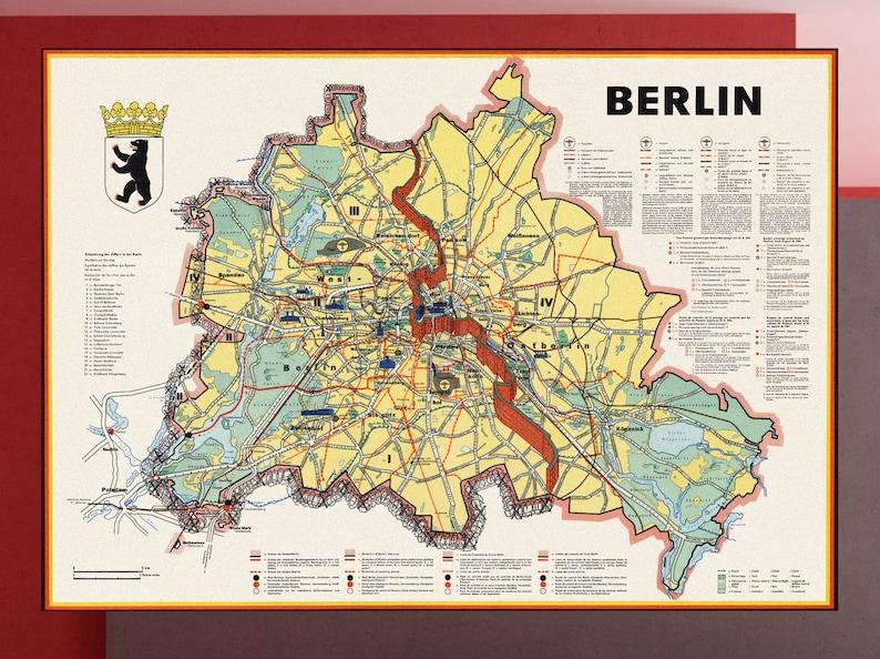 Map Of Germany 1960.Vintage Berlin Map Berlin Old Map Germany Map Berlin Street Map Berlin Poste Reproduction