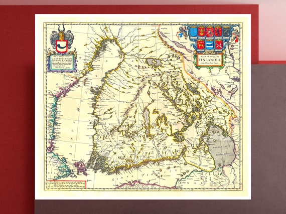 Antique Suomi Map Old Map Of Finland 1660 Suomenmaan Etsy