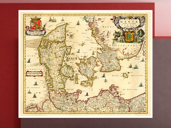 Old Scandinavia Map Antique Map Of Denmark Old Danish Map Etsy