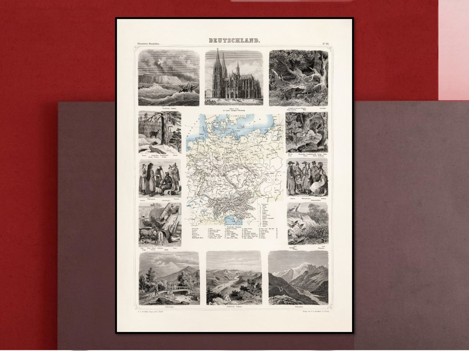 Antique Germany Map | Germany Wall Art | Vintage Poster | Reproduction