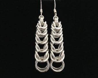 Sterling Silver Graduation Day Chain Maille Earrings
