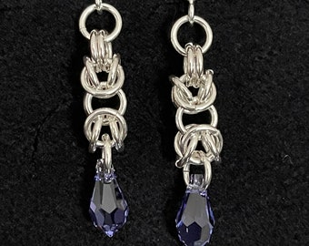 Sterling Silver Byzantine and Swarovski Chain Maille Earrings