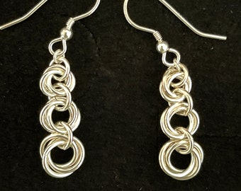 Sterling Silver Möbius Rings Chain Maille Earrings