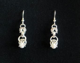 Sterling Silver Graduated Stardust Chain Maille Earrings
