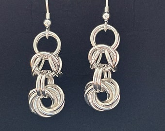 Sterling Silver Byzantine and Vortex Chain Maille Earrings