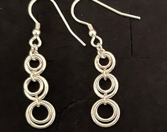 Sterling Silver Tiered Loop Chaine Maille Earrings
