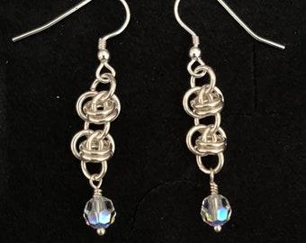 Sterling Silver and Swarovski Roll the Barrels Chain Maille Earrings