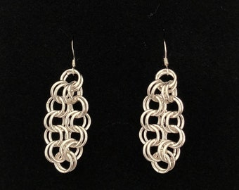Sterling Silver Ring the Changes Chain Maille Earrings