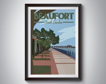 Beaufort | South Carolina | Travel Poster | Instant Download