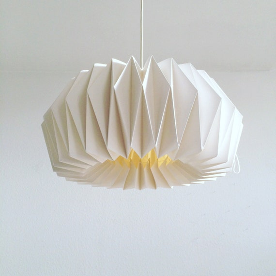 Origami Paper Lamp Zurich Adjustable Hand Folded Lamp Shade Etsy