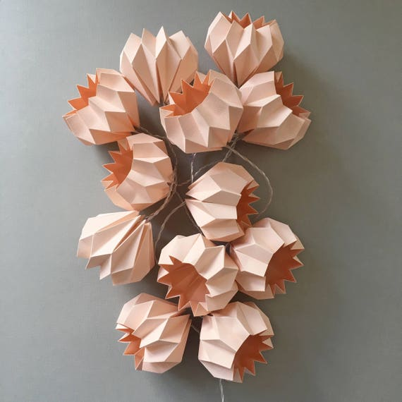 Led Rose Fairy Lights 12 Origami Light String Handmade Etsy