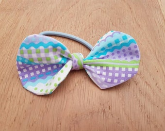 Mystery bow Knot bow Baby headband /Toddler Headband or Ponytail holder (hair elastic)