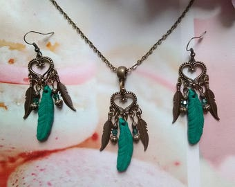 Set necklace and earrings feathers / gift idea