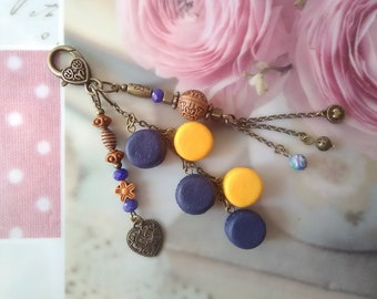 Blue/yellow color with gold buttons bag charm / Keychain / bronze