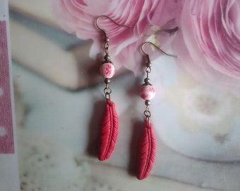 Red polymer clay feather earrings