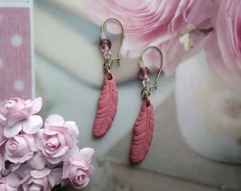Old pink feathers in polymer clay earrings