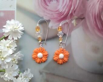 Orange flowers in polymer clay earrings / gift idea