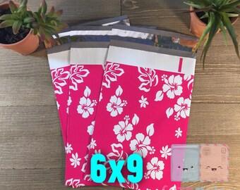 100 pcs 6x9 Floral Hawaiian Poly Mailers