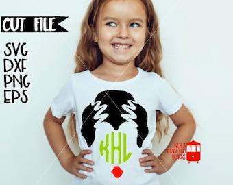 Frankenstein Svg Cut File - Halloween Monogram Svg Cut File - Girls Halloween Svg Cut File - Halloween Monogram Cut file - Elvira Svg