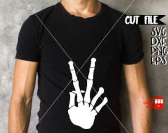Trendy Mens Halloween Svg Cut File - Hipster Halloween Svg - Mens Halloween Svg - Skeleton Svg Cut File - Skeleton Peace Sign Svg Cut File